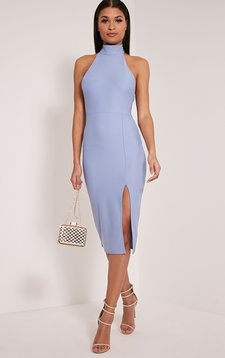 Trina Dusty Blue High Neck Split Front Midi Dress 1
