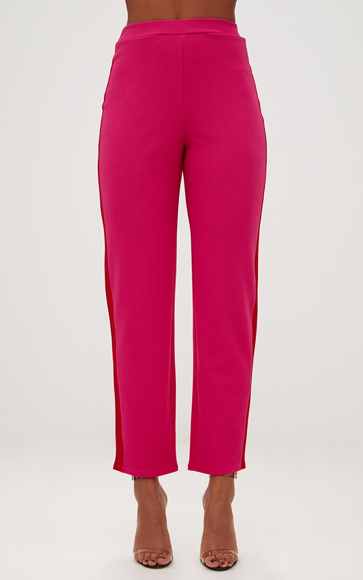 Hot Pink Contrast Stripe Straight Leg Trouser 2
