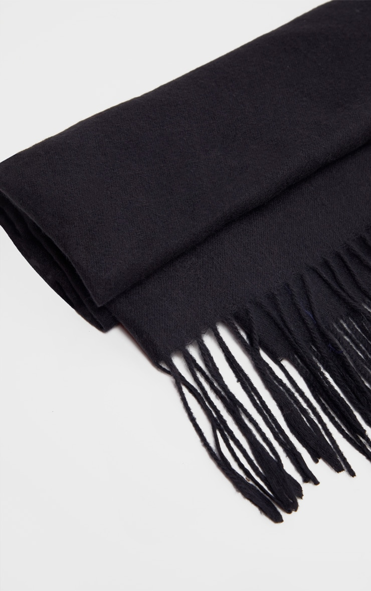 Black Basic Plain Scarf 2