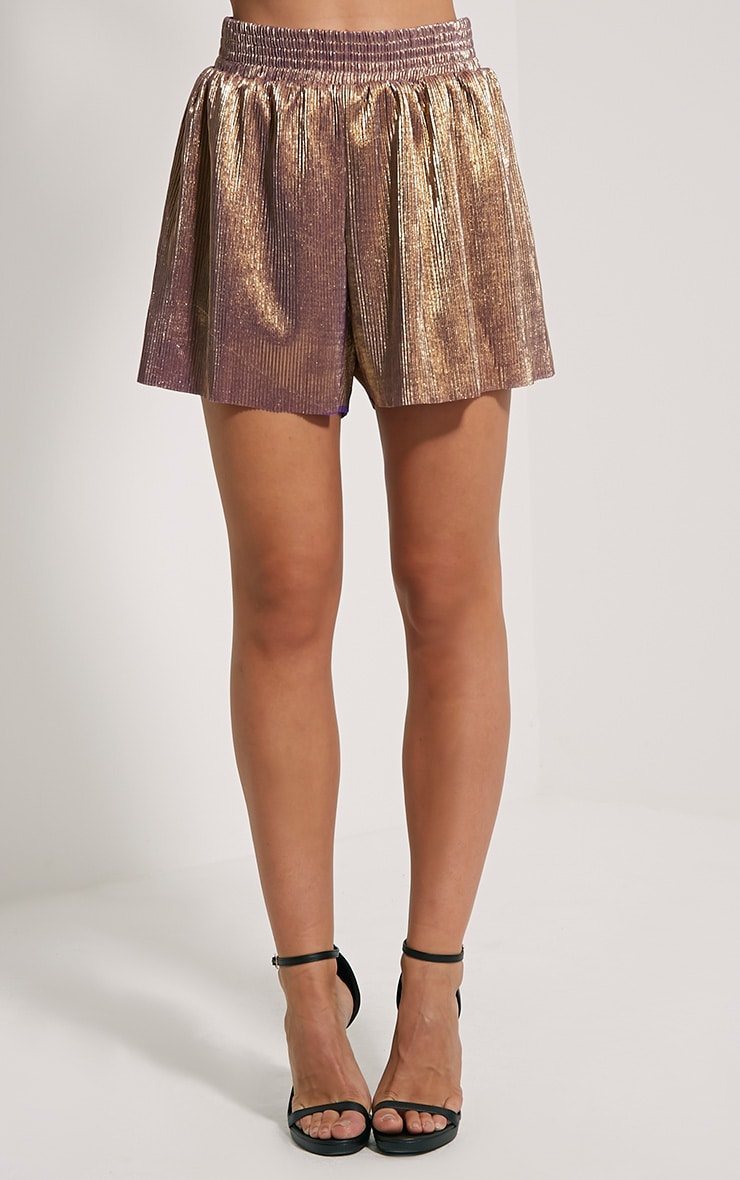 Lula Gold Metallic Shorts 2