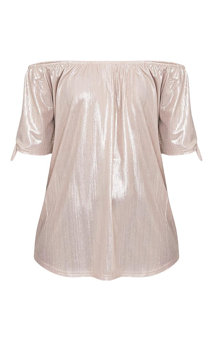 Nadina Gold Metallic Bardot Tie Sleeve Top 3