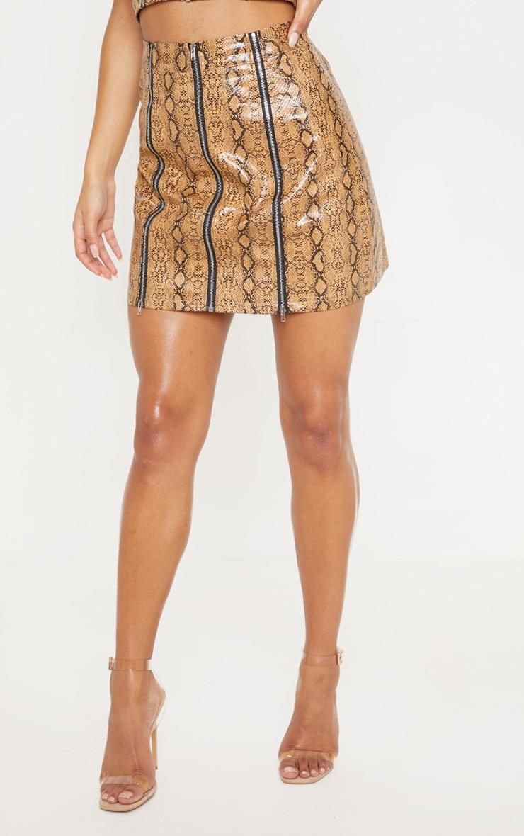 Camel Faux Leather Snake Print Zip Detail Mini Skirt 2