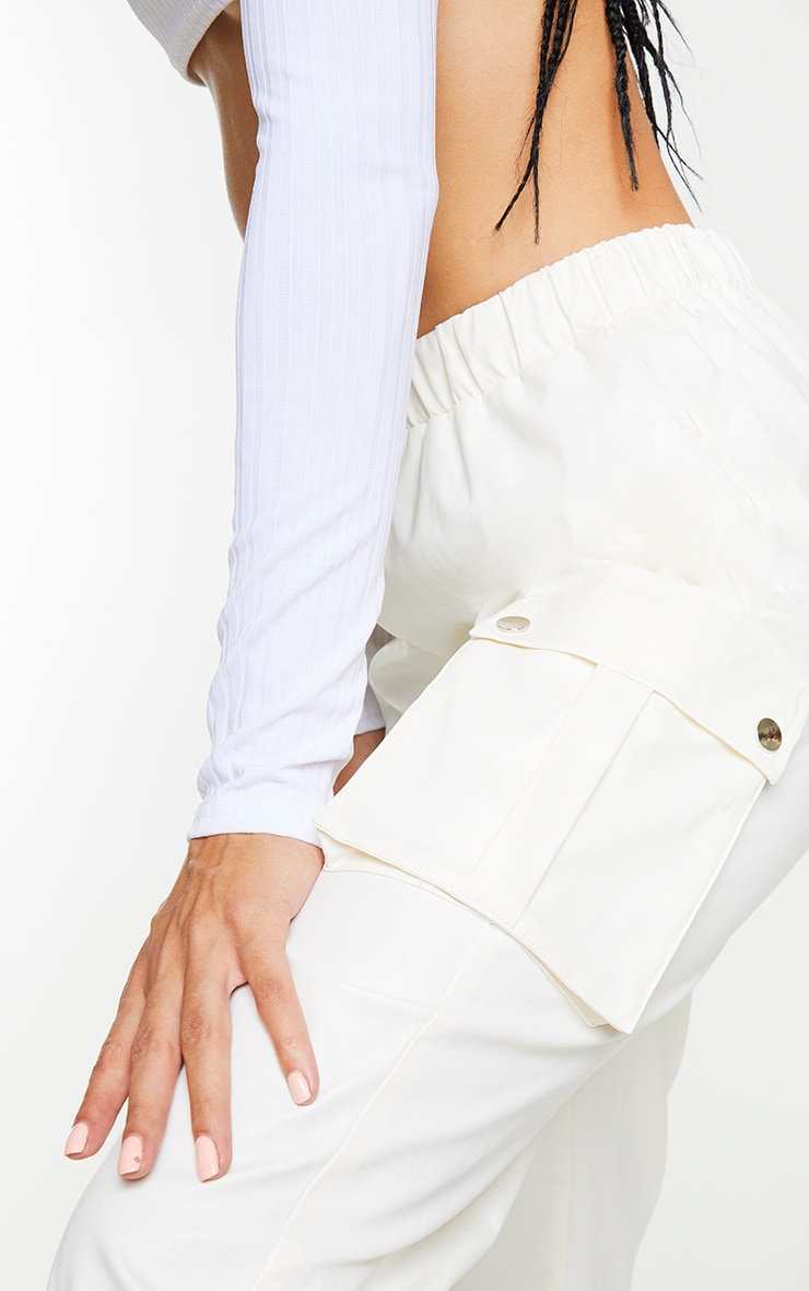 Cream Faux Leather Cargo Pants 4