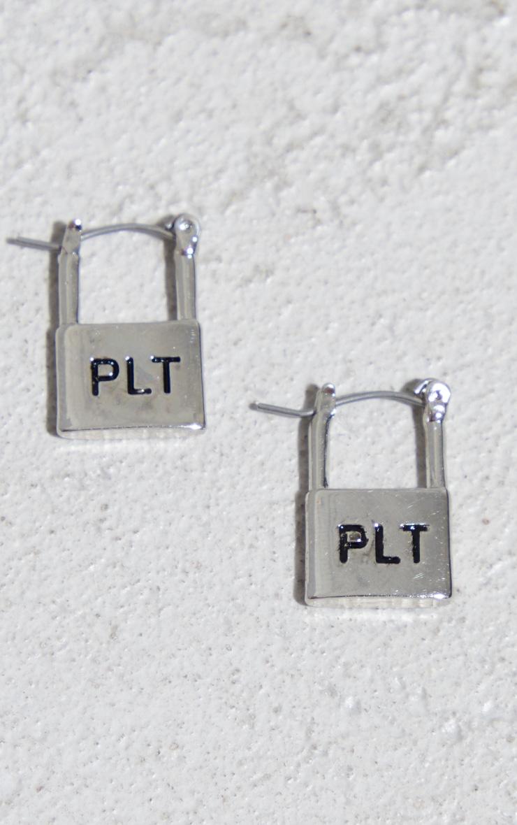 PRETTYLITTLETHING Silver Embossed Padlock Hoop Earrings 1