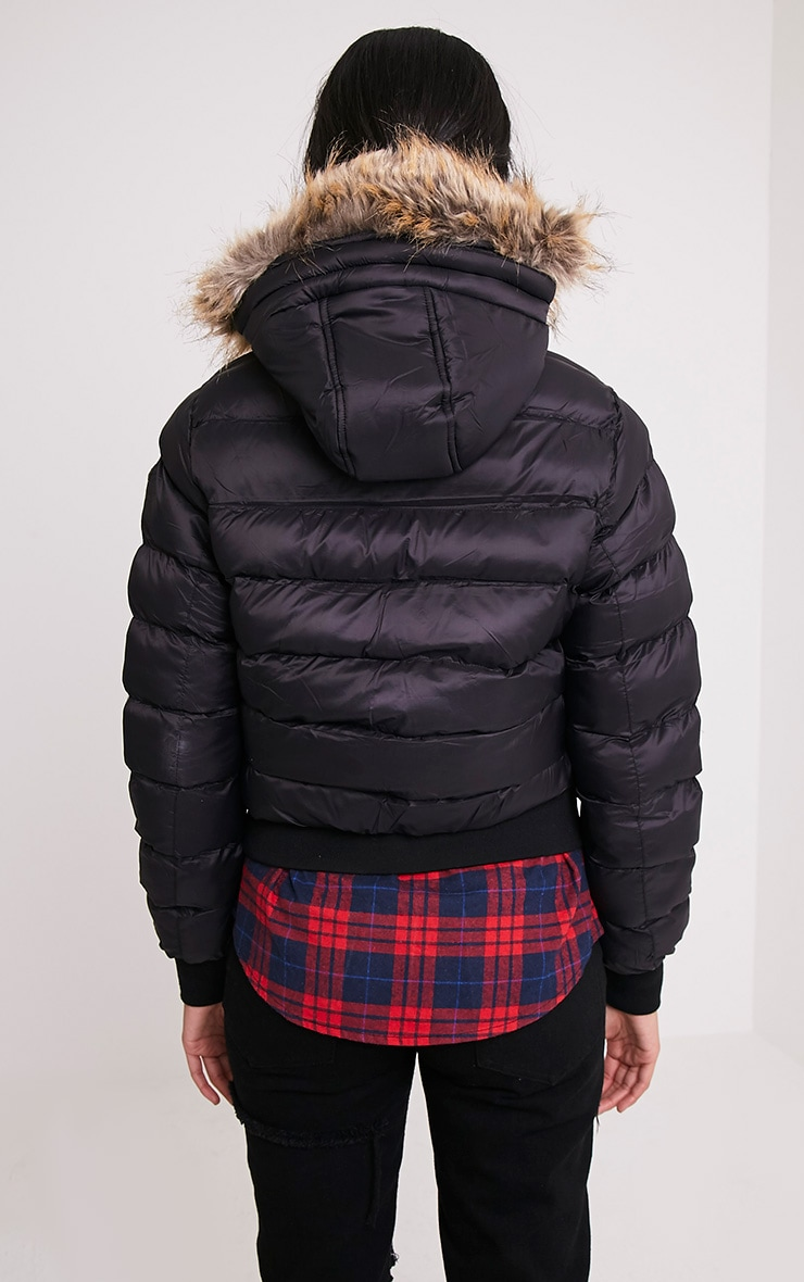 Chanah Black Faux Fur Trim Puffa Jacket 2