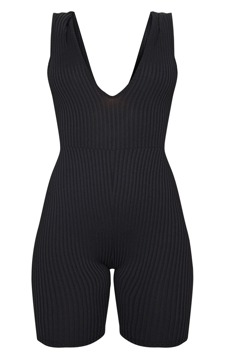 Black Ribbed Plunge Sleeveless Unitard 3