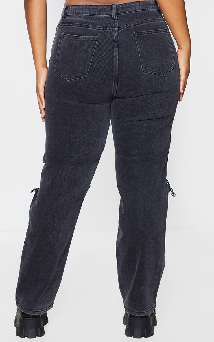 PRETTYLITTLETHING Plus Washed Black Knee Rip Straight Leg Jeans 3