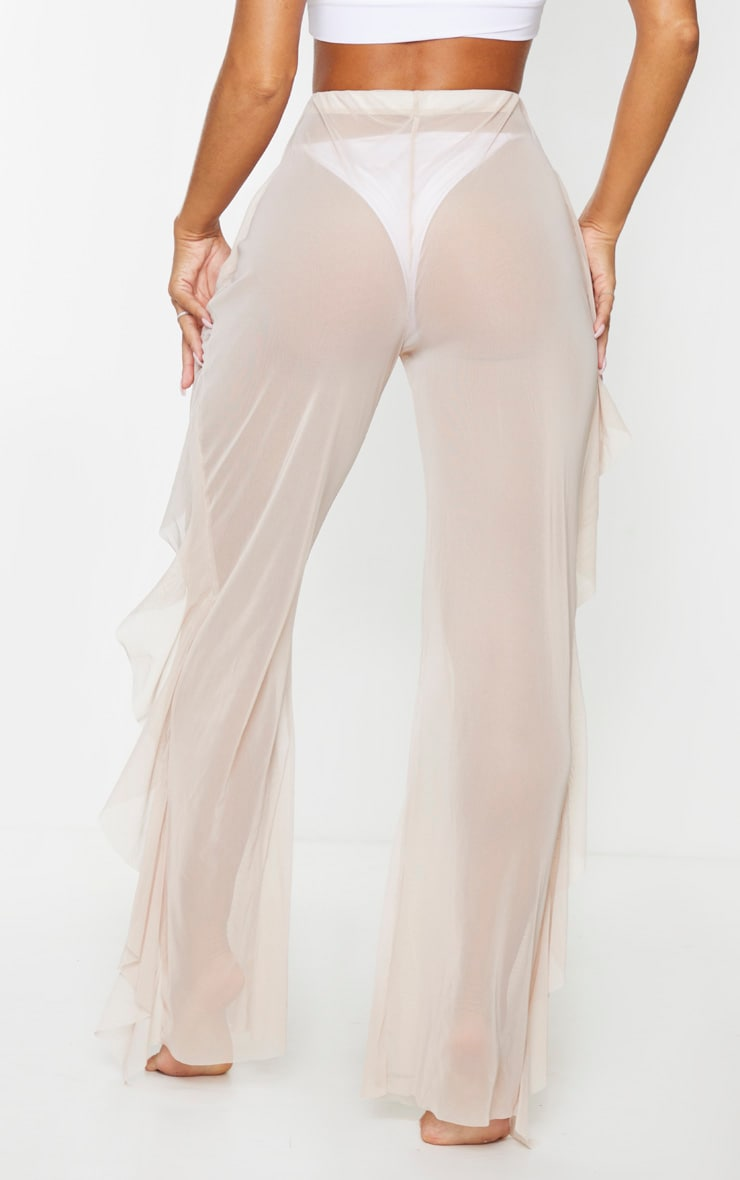 Nude Frill Mesh Beach Trousers 3