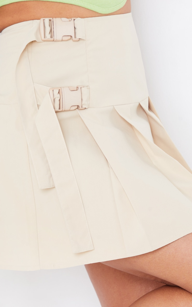 Cream Buckle Detail Woven Pleated Mini Skirt 5