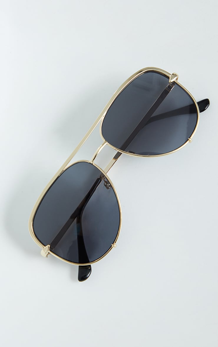 Gold On Black Oversized Aviator Sunglasses 3