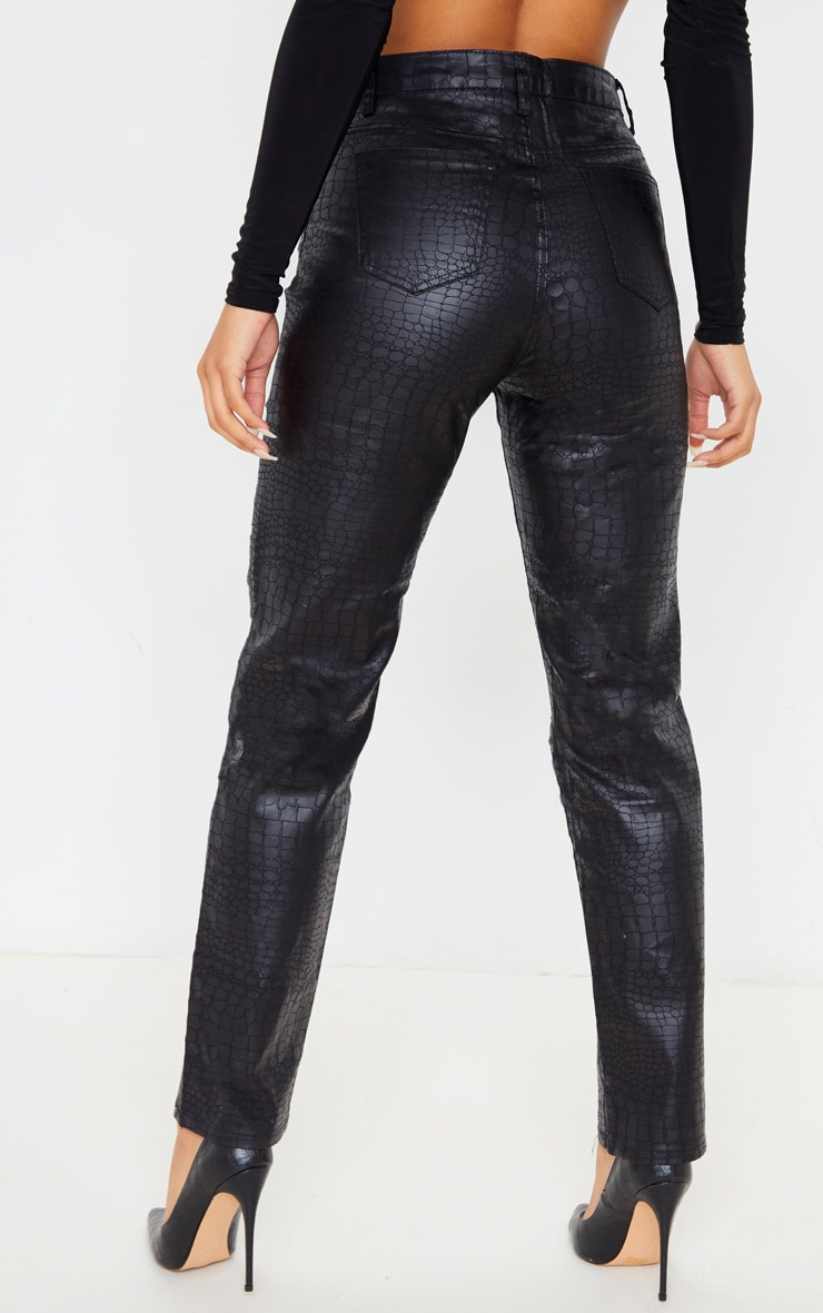 Black Coated Denim Croc Straight Leg Jean 4