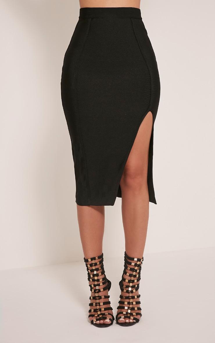 Caitlyn Premium jupe midi élastique noire 2