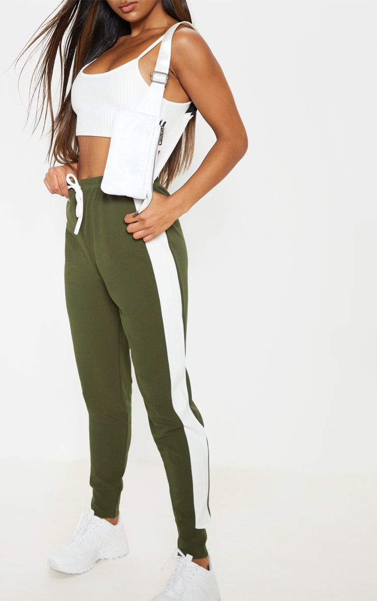 Khaki Side Stripe Detail Jogger 5