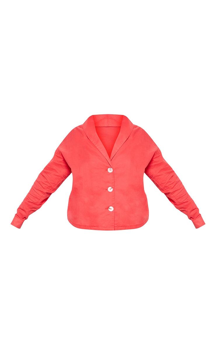 Plus Red Woven Tortoise Button Blouse 3