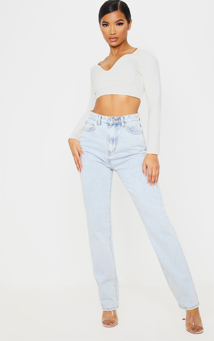 Light Wash Long Leg Straight Jeans 1