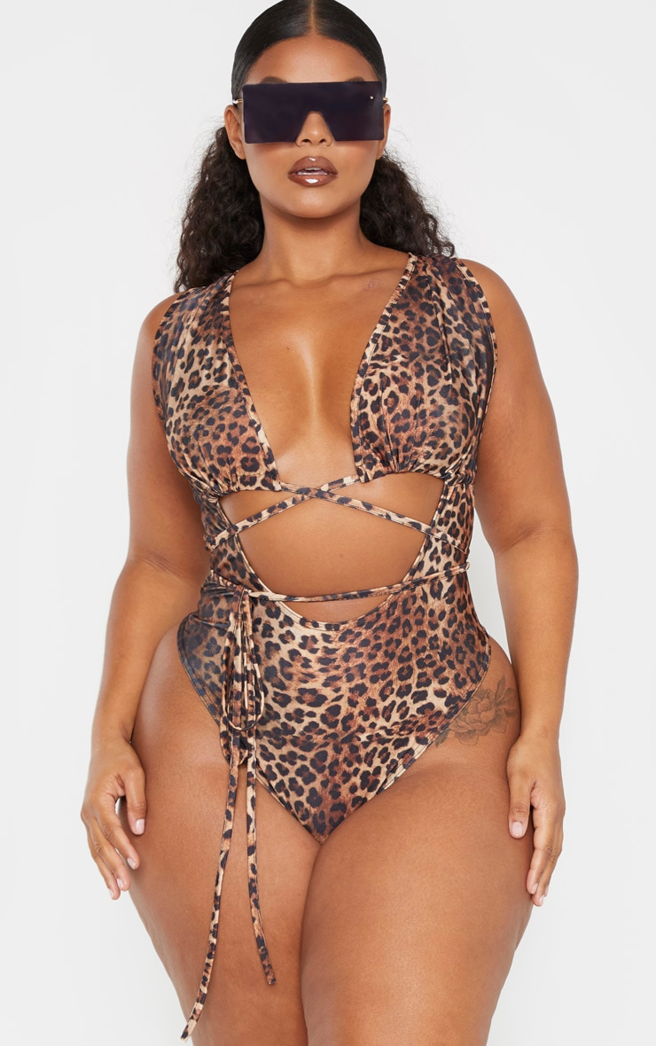 Plus Brown Leopard Print Cut Out Wrap Around Swimsuit 1