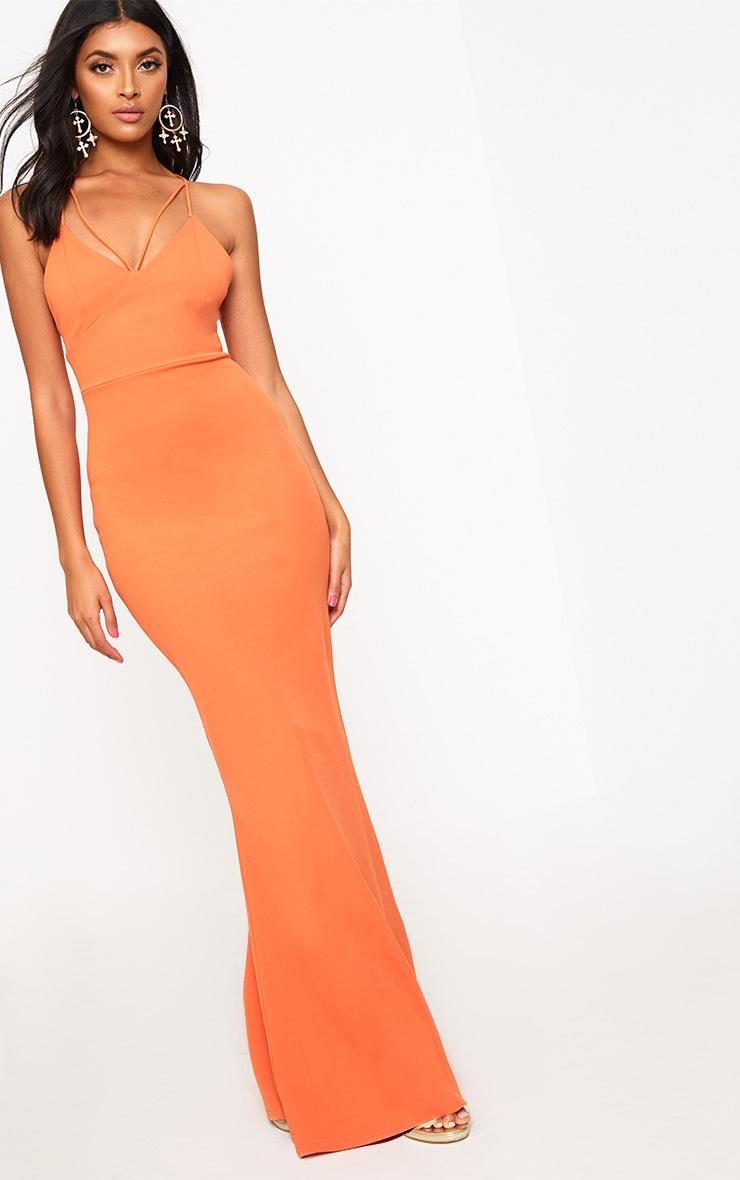 Bright Orange Strap Detail Strappy Maxi Dress 1
