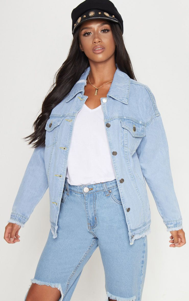 Petite Light Wash Distressed Oversized Denim Jacket 1