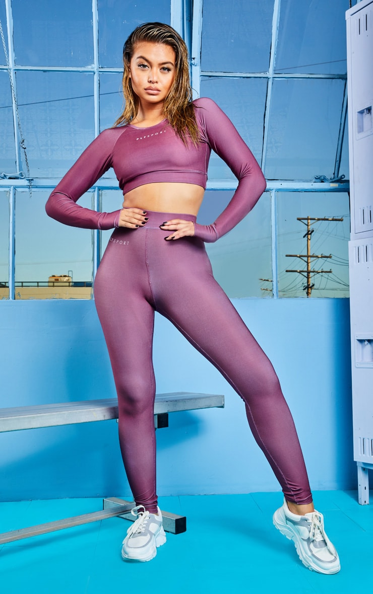 Mauve Elasticated Long Sleeve Cropped Gym Top 4