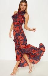 Navy Floral Print Frill Detail Wrap Maxi Dress 1