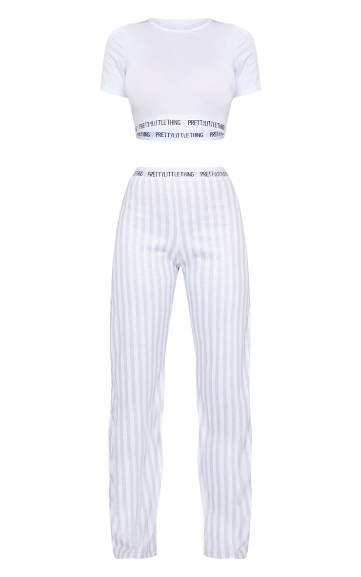 PRETTYLITTLETHING Grey Stripe Pants PJ Set 5