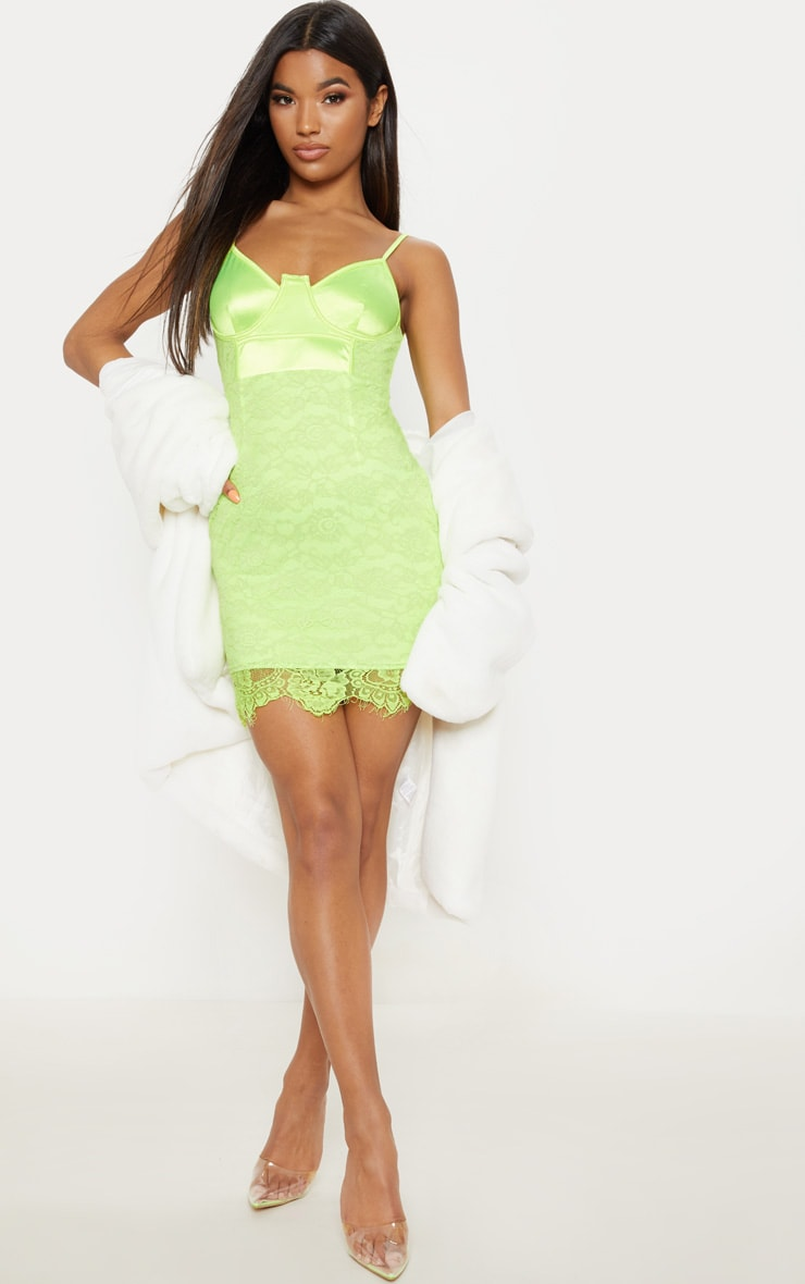 Lime Satin Top Bustier Lace Bodycon Dress 4