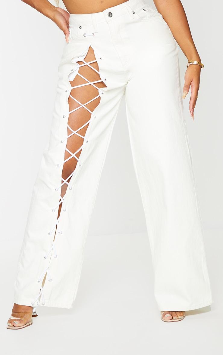 PRETTYLITTLETHING Shape Ecru Lace Up Side Wide Leg Jeans 2