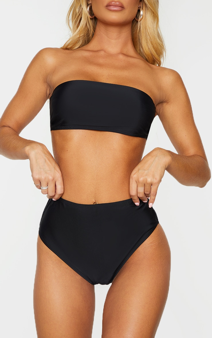 Black Mix & Match Recycled Fabric High Waist Bikini Bottoms