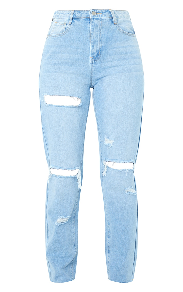PRETTYLITTLETHING Light Blue Wash Ripped High Waisted Straight Leg Jeans 5