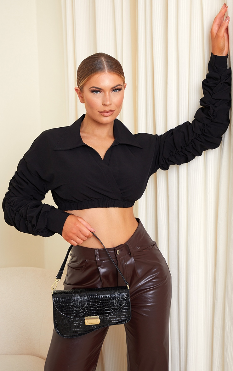Black Extreme Ruched Long Sleeve Cropped Shirt 1