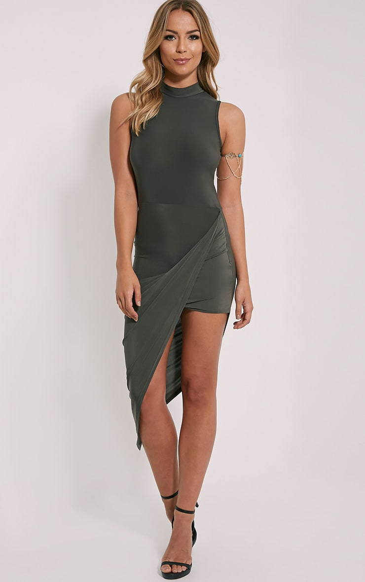 Prim Khaki Slinky Drape Asymmetric Dress 4