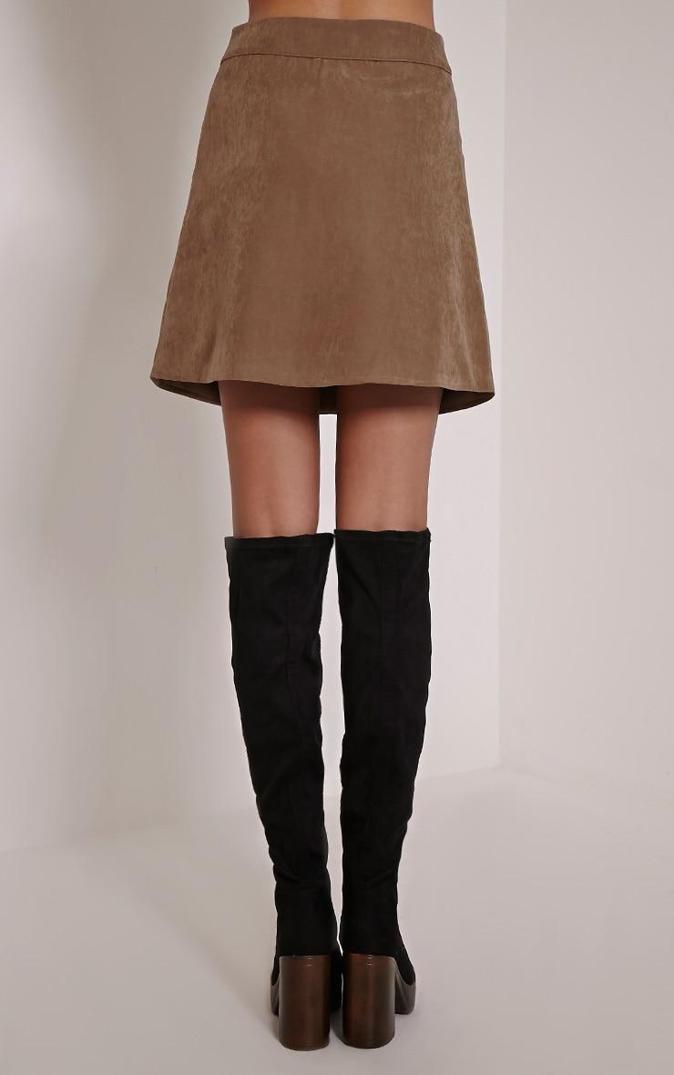 May Tan Double Button Mini Skirt 3
