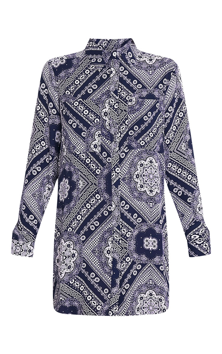 Camille Navy Paisley Print Shirt Dress 3