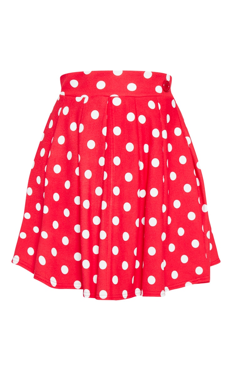 Red Polka Dot Pleated Side Split Tennis Skirt 3
