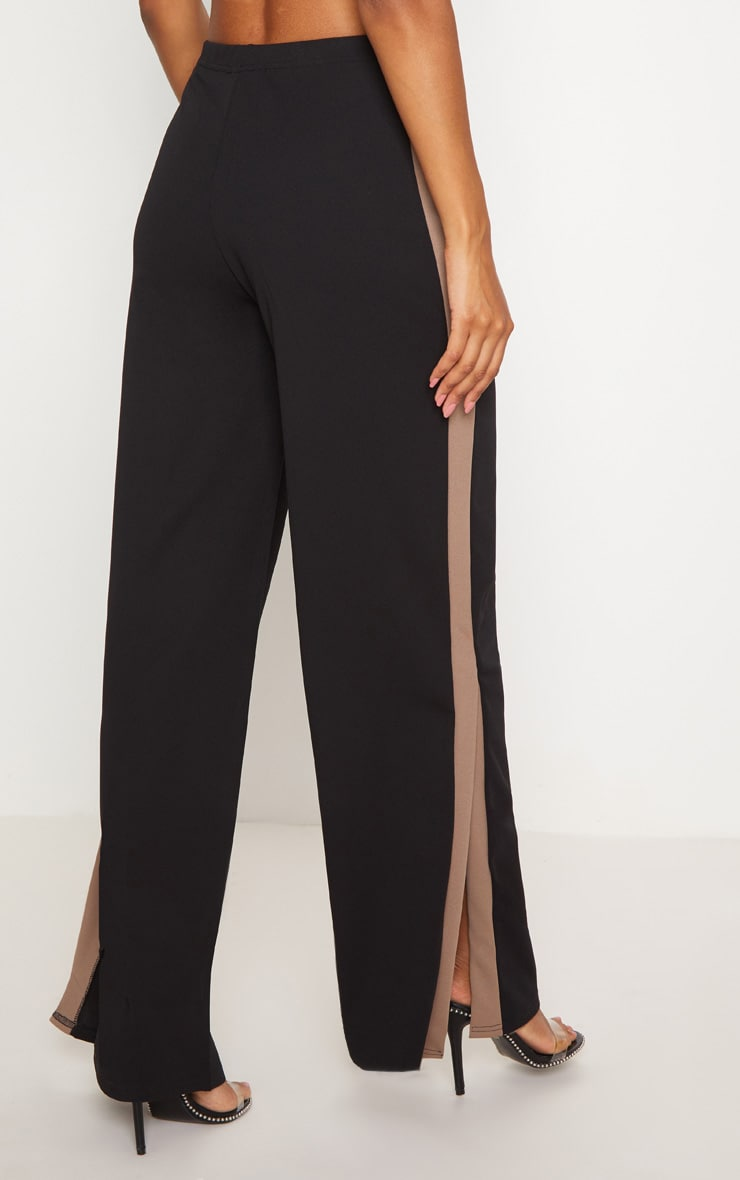 Black Contrast Side Panel Split Hem Wide Leg Trouser 4