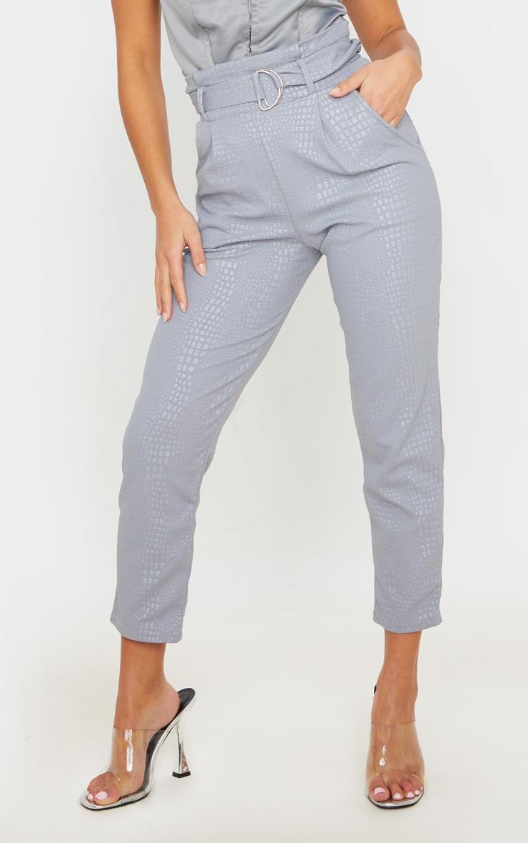 Petite Grey Croc Print D Ring Belted Skinny Pants 2