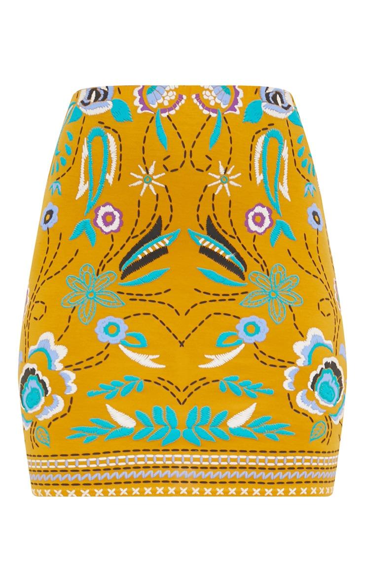 Mustard Floral Embroidery Print Mini Skirt 3