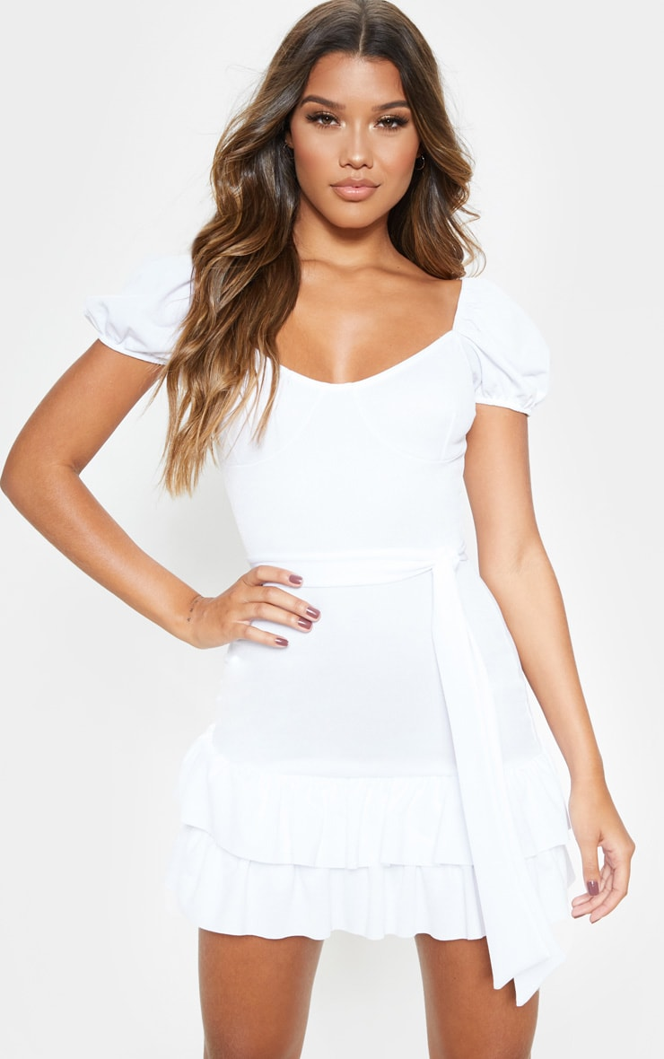 White Tie Waist Frill Hem Dress 1