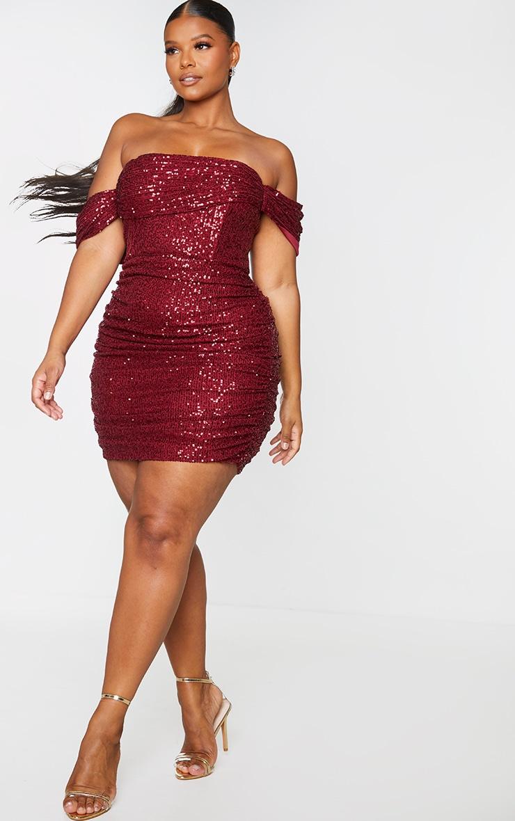 Plus Burgundy Sequin Bardot Bodycon Dress 1