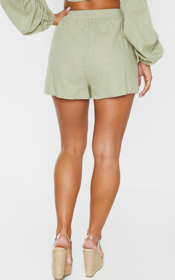 Pale Khaki Linen Look Elasticated Beach Shorts 4