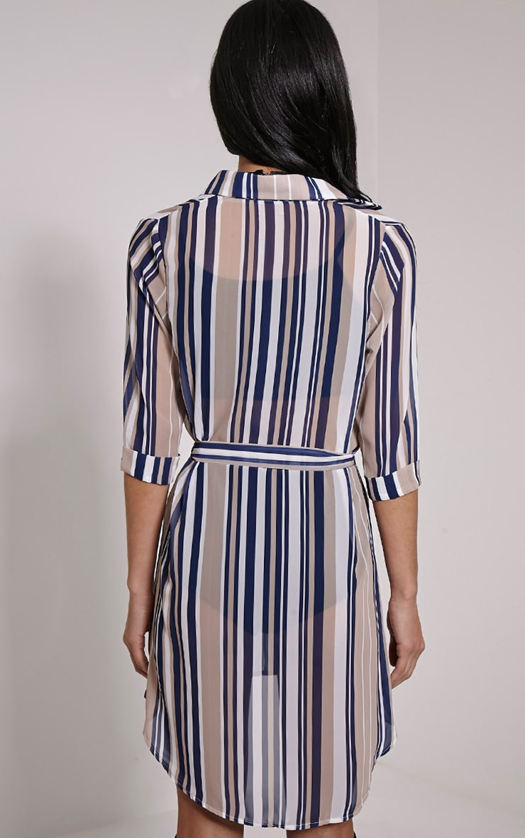 Mara Beige Stripe Shirt Dress 2