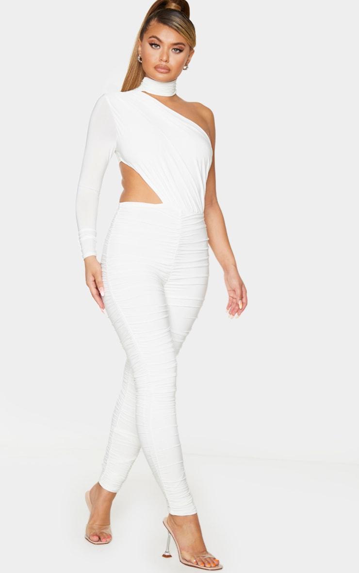 White Ruched One Shoulder Jumpsuit 3