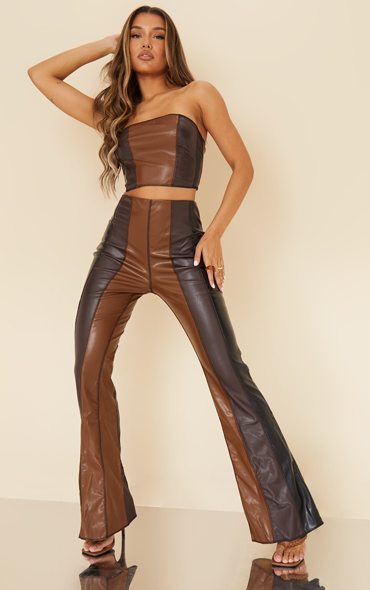 Chocolate Brown Faux Leather Panelled Skinny Flared Trousers 1