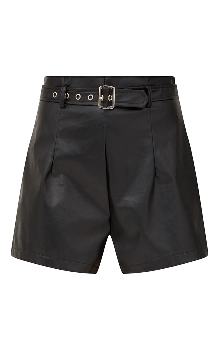Black Faux Leather Belted Shorts 3
