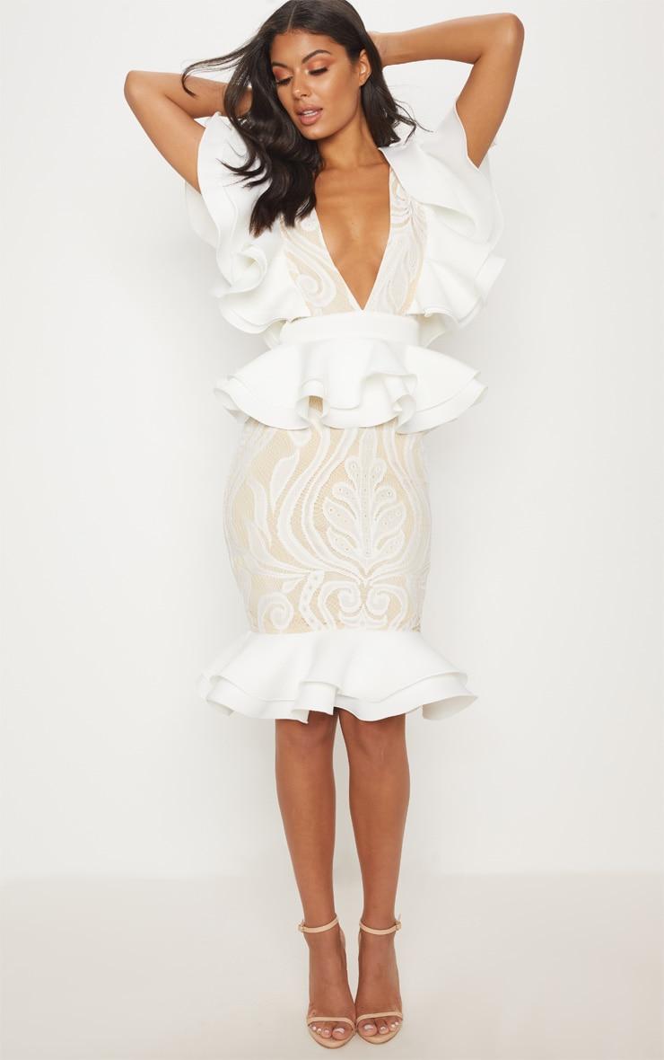 White Ruffle Detail Plunge Midi Dress image 1