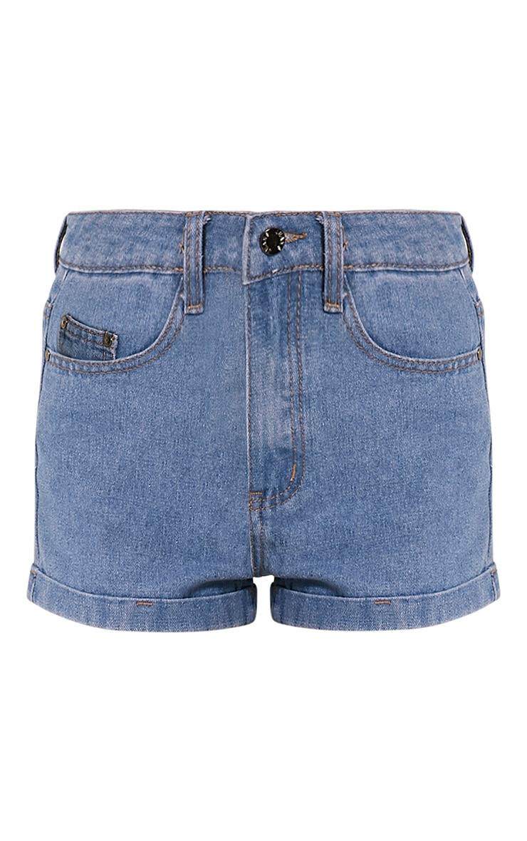 Vida Mid Wash Turn Up Hem Denim Hotpants 3