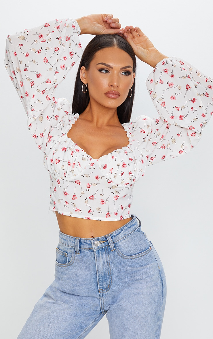 White Ditsy Floral Mesh Cup Detail Long Sleeve Crop Top 1