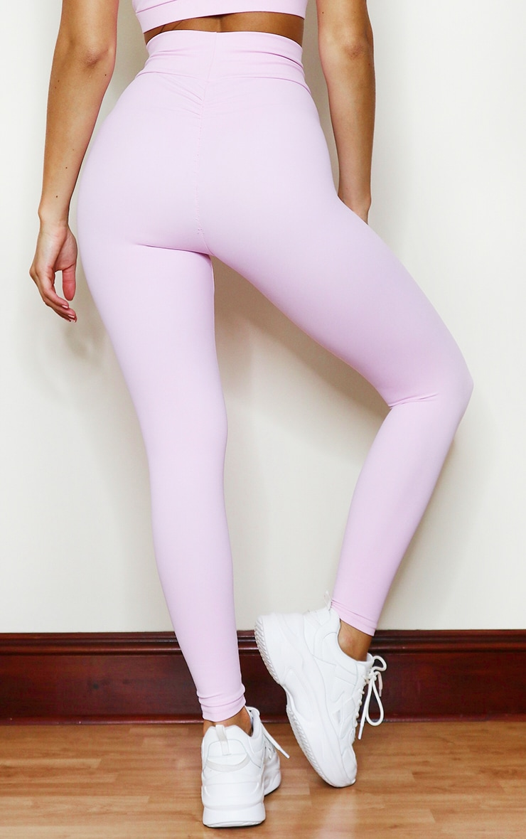 PRETTYLITTLETHING Baby Pink Sculpt Luxe Ruched Bum Gym Legging 3