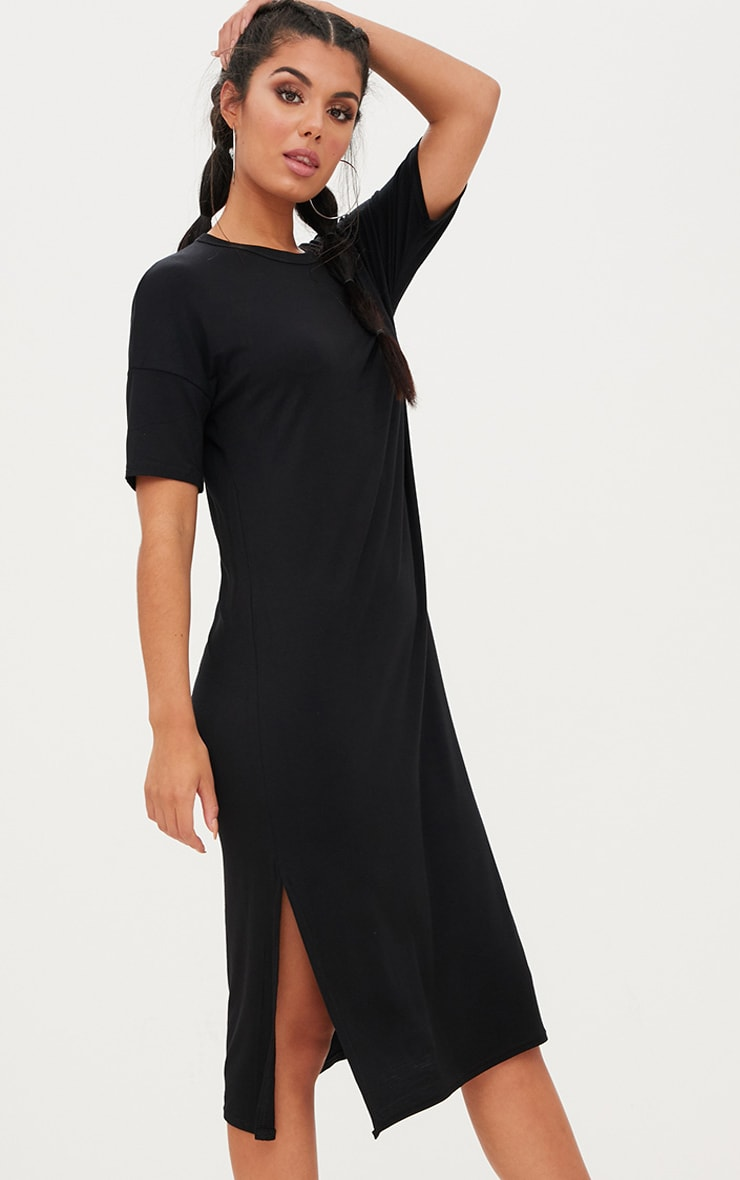 Black Jersey Short Sleeve Midi T Shirt Dress 4