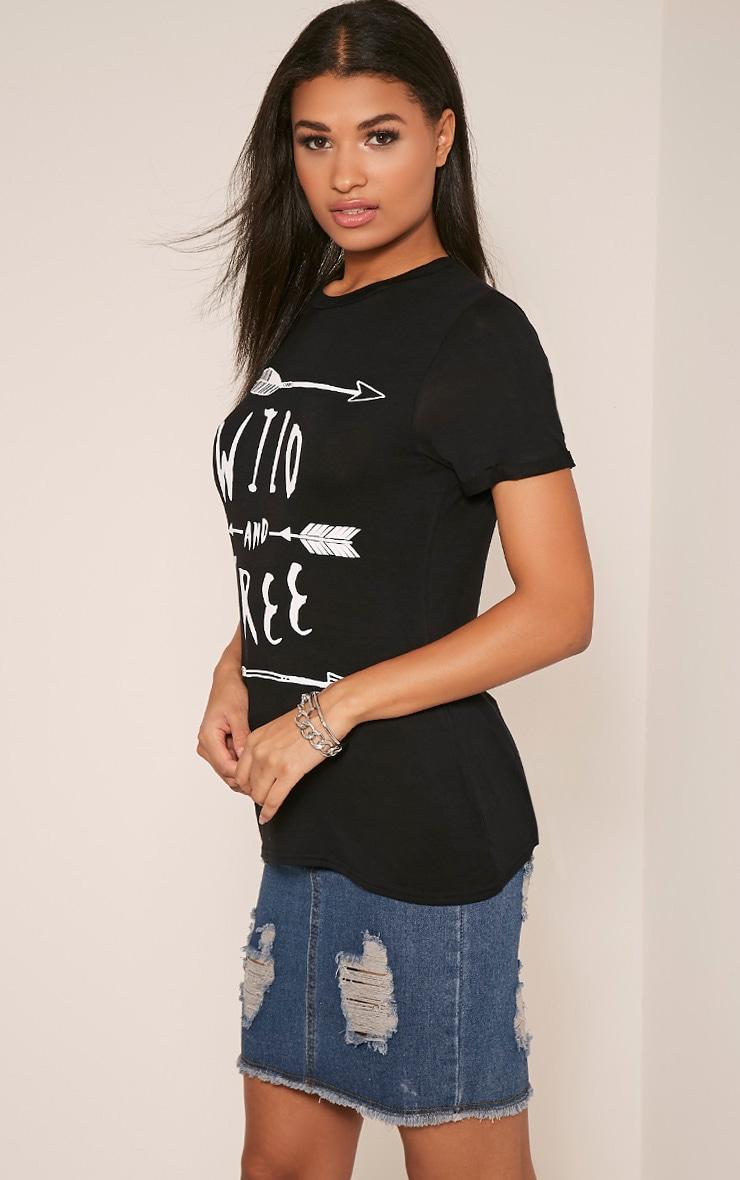 Wild & Free Slogan Black T-Shirt 4